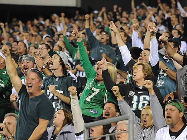 Fans at Lincoln Financial Field only had a few moments of celebration during the Eagles´ loss to the Chiefs. (Clem Murray/Staff Photographer)