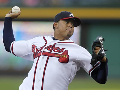Jair Jurrjens was a late scratch for tonight´s game.  (AP Photo/John Bazemore)