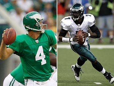 Andy Reid said Kevin Kolb (left) will start this Sunday even after Michael Vick´s last two performances. (AP Photos)