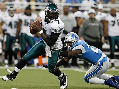 Michael Vick showed his elusiveness while under constant pressure from the Detroit blitz. (David Maialetti/Staff Photographer)