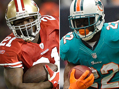 Frank Gore, left, and Reggie Bush have both out-performed expectations this season. (AP Photos)