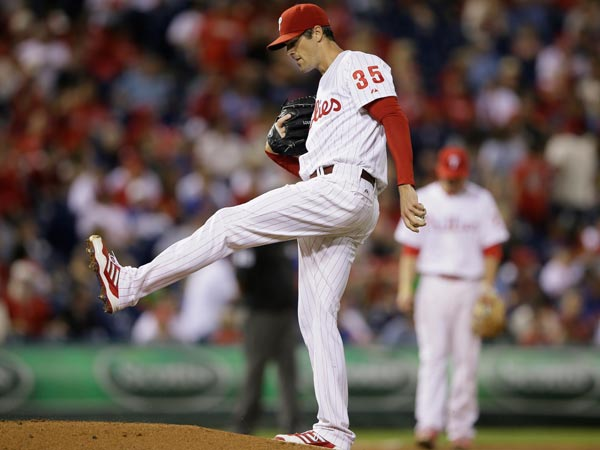 Cole Hamels in action during a baseball game against the New York Mets, Friday, Sept. 20, 2013, in Philadelphia. (Matt Slocum/AP)