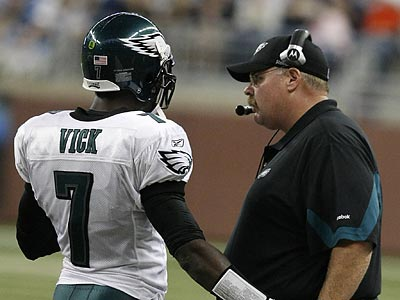 Andy Reid likes his quarterback situation with Kevin Kolb and Michael Vick. ( Ron Cortes / Staff Photograher )