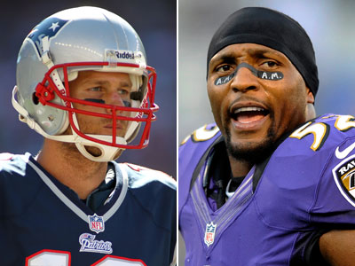 The always-dangerous Ray Lewis and the Ravens take on Tom Brady´s Patriots Sunday night. (AP Photos)