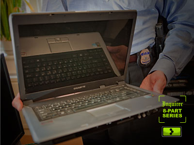After the Iranian's arrest, his bulky Gigabyte-brand computer was hand-carried to Homeland Security offices on Chestnut Street. (David M Warren / Staff Photographer)