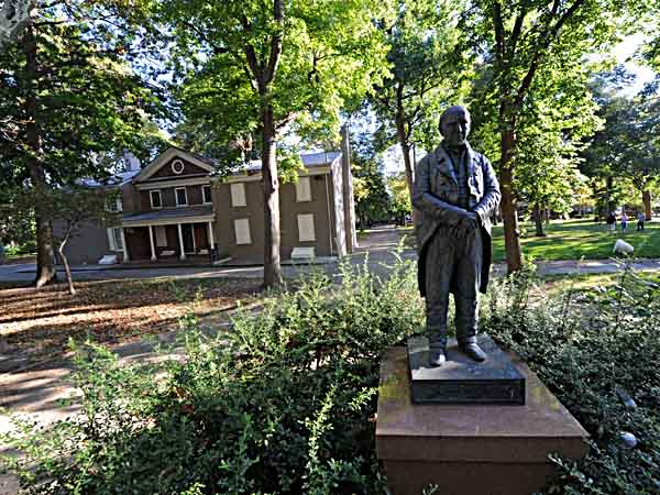 A statue of Stehpen Girard stands in the middle of Girard Park, located between 21st and 22nd Sts. and Shunk and Porter Sts.  The mansion in the background is Girard´s farmhouse.  ( CLEM MURRAY / Staff Photographer )