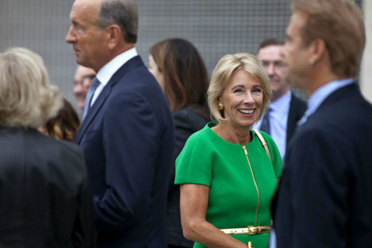 U.S. Education Secretary Betsy DeVos arrives at the dedication ceremony of Michigan State University´s new Grand Rapids Medical Research Center on Wednesday, Sept. 20, 2017, in Grand Rapids, Mich.