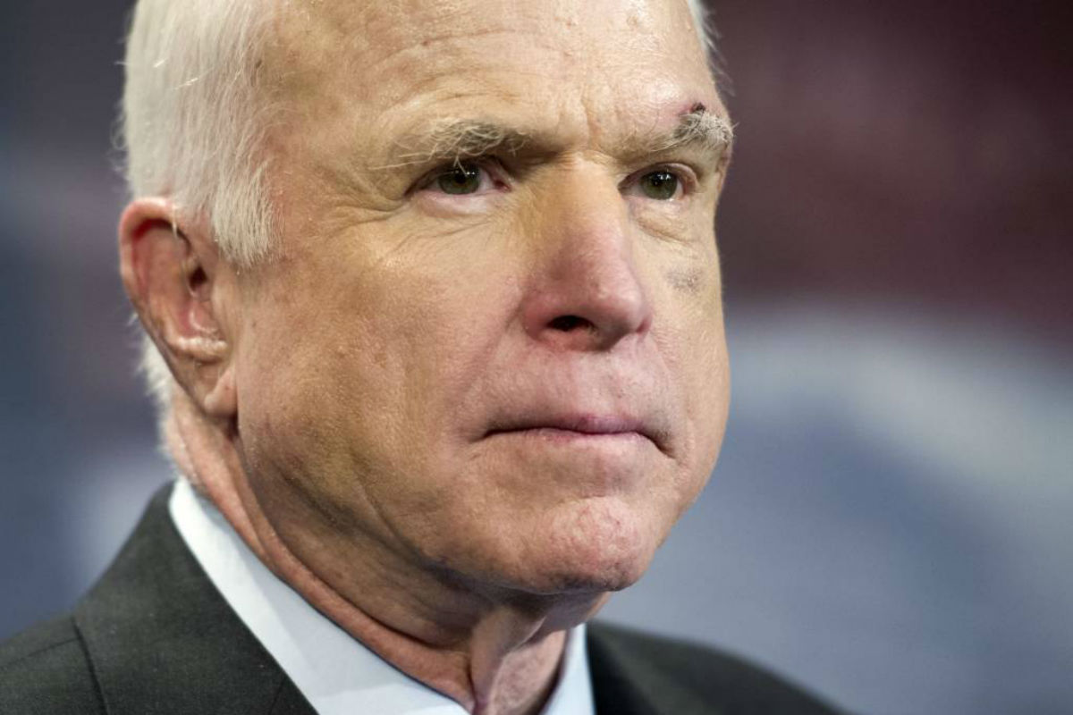 FILE -- In this July 27, 2017, file photo, Sen. John McCain, R-Ariz., speaks to reporters on Capitol Hill in Washington.  McCain says he won´t vote for the Republican bill repealing the Obama health care law. His statement likely deals a fatal blow to the last-gasp GOP measure in a Senate showdown expected next week.