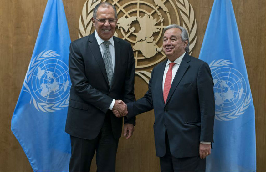Russia Foreign Minister Sergey Lavrov, left, is greeted by United Nations Secretary-General Antonio Guterres before a meeting Thursday, Sept. 21, 2017, at U.N. headquarters.