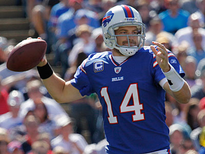 Ryan Fitzpatrick and the upstart Buffalo Bills face a tough test at home against the Patriots. (Derek Gee/AP)