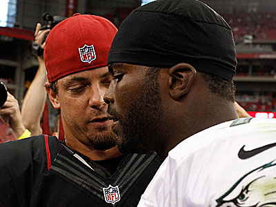 """He's a warrior. He gets banged up out there,"" Kevin Kolb said about Michael Vick. (Yong Kim/Staff Photographer)"