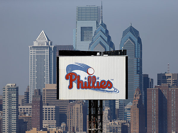 This sign that obstructs Phillies´ fans view of the Center City skyline from Citizens Bank Park is being lowered and renovated. (Matt Rourke/AP file photo)