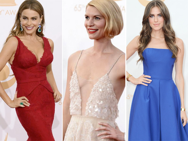 From left: Sofia Vergara, Claire Danes and Allison Williams at the 65th annual Primetime Emmy Awards. (AP Photos)