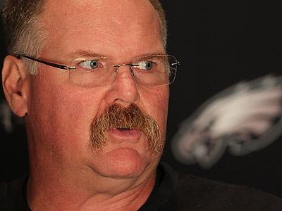 Andy Reid answers questions from the media the day after the loss to the Cardinals. (Michael Bryant/Staff Photographer)
