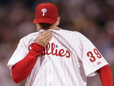Brett Myers has pitched poorly in his last two starts. The Phillies might want to avoid having Myers start Game 1 of the playoffs. (Yong Kim / Daily News)