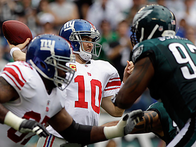 Eli Manning threw four touchdowns in the Giants´ win over the Eagles earlier this season. (AP Photo/Matt Slocum)