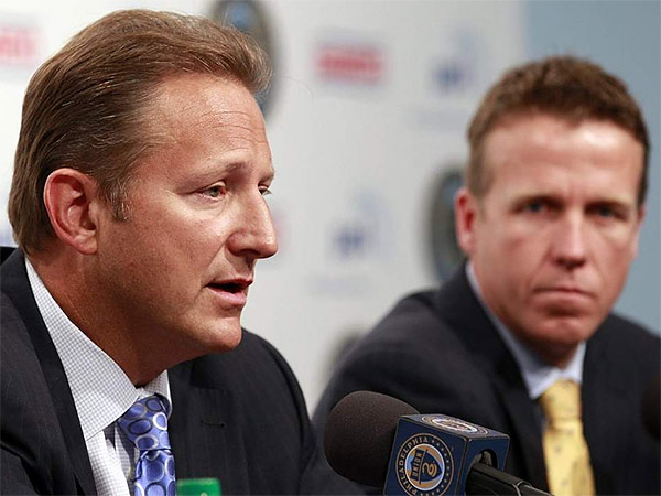 Philadephia Union CEO Nick Sakiewicz (left) and manager John Hackworth (right). (Yong Kim/Staff file photo)