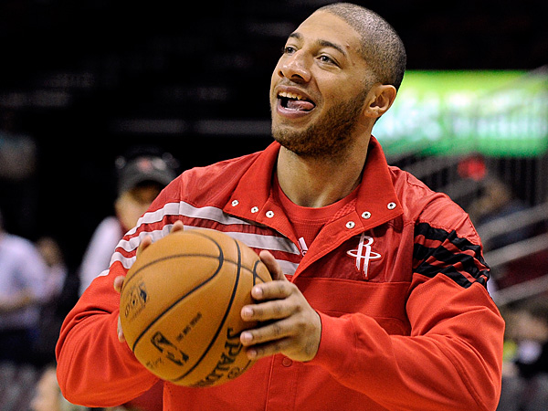 Forward Royce White takes a shot before the Rockets game in New Orleans. (Pat Sullivan/AP)