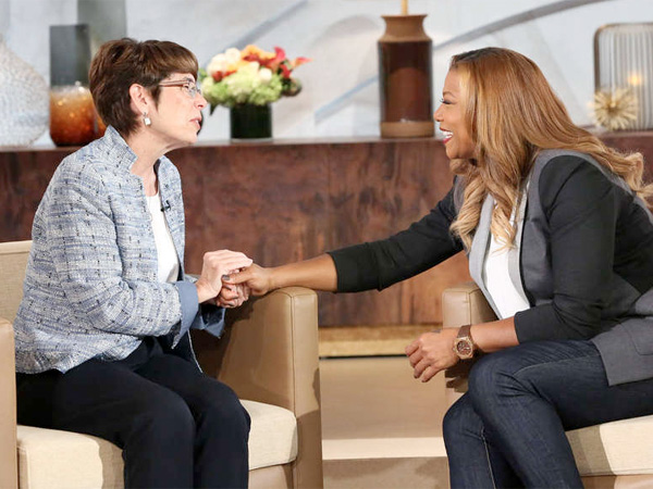 "Sister Mary Scullion of Project HOME gets a surprise donation on Thursday´s episode of ""The Queen Latifah Show."""
