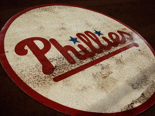 The Phillies´ on deck circle is shown as weather delays the start of a baseball game against the San Diego Padres, Thursday, Sept. 12, 2013, in Philadelphia. (Matt Slocum/AP)