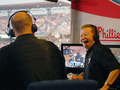 Tom McCarthy and Chris Wheeler in the TV broadcast booth at Citizens Bank Park. (Jarrid Barringer/Staff file photo)