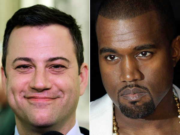 """Jimmy Kimmel, left, and Kanye West either are engaged in a bitter feud or a heck of a parody. Kimmel´s monologue Thursday night Sept. 26, 2013 was devoted to discussing what he called a """"very angry phone call"""" he received from West about an hour and a half before taping ABC´s """"Jimmy Kimmel Live."""" (AP Photo/File)"""