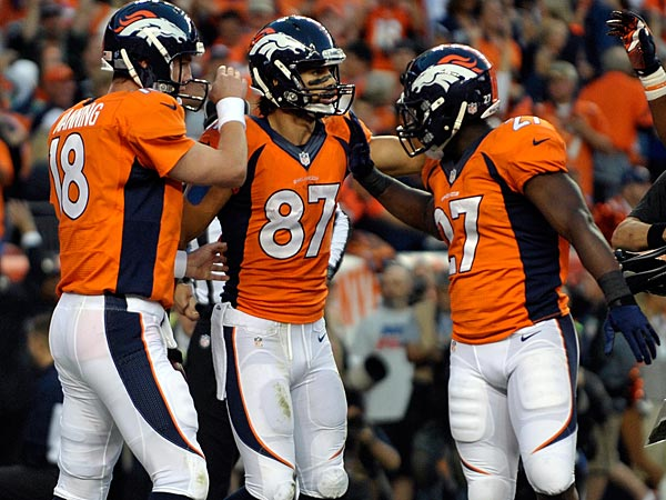 Denver Broncos wide receiver Eric Decker (87) is congratulated bt Peyton Manning (18), and Knowshon Moreno (27) after scoring a touchdown against the Oakland Raiders during an NFL football game on Monday, Sept. 23, 2013, in Denver. (AP Photo/Jack Dempsey)