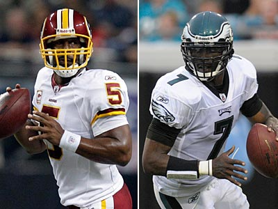 Michael Vick and the Eagles will face former quarterback Donovan McNabb (left) on Sunday at the Linc. (AP Photos)