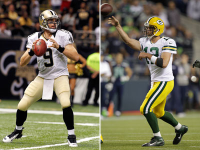 Drew Brees and Aaron Rogers will throw down this week. (AP Photos)