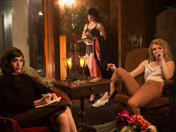 "This undated publicity photo released by Showtime shows, Lizzie Caplan, left, as Virginia Johnson and Annaleigh Ashford, right, as Betty in ""Masters of Sex,"" season 1, episode 2. (AP Photo/Showtime, Peter Iovino)"