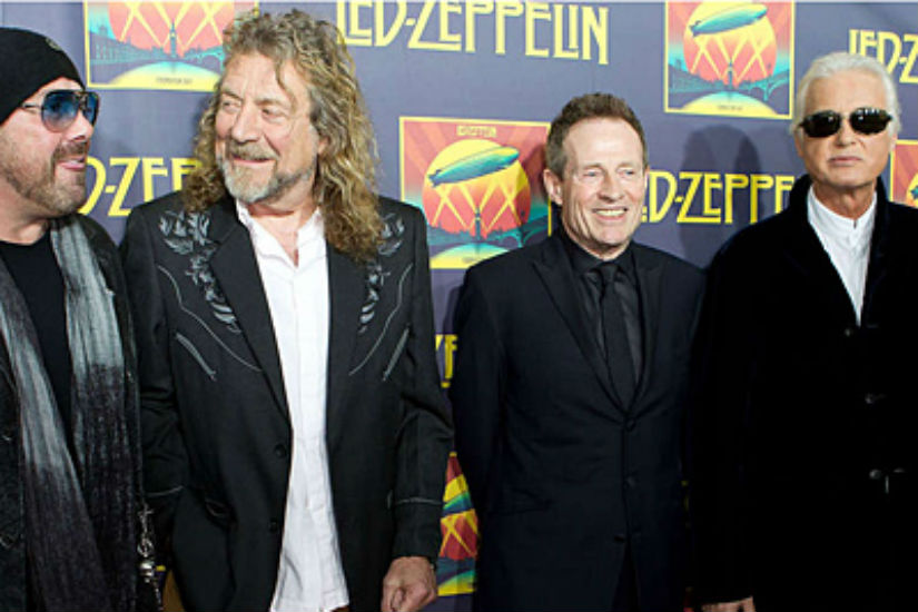 """From left, Jason Bonham, Robert Plant, John Paul Jones and Jimmy Page at a """"Celebration Day"""" premiere event in New York City in 2012."""