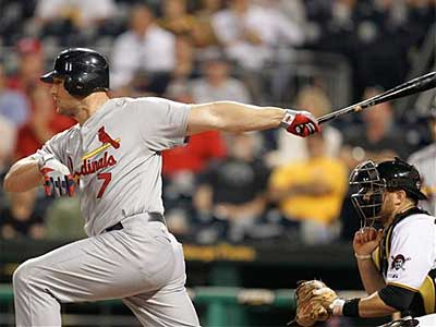 Cardinals slugger Matt Holliday has been suffering from a finger injury. (Gene J. Puskar/AP)