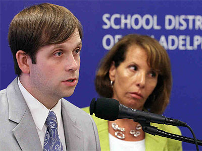 The School District´s Daniel Piotrowski and Fran Newberg speak at a news conference about the findings reported to the state concerning cheating on the PSSA tests by Philadelphia students earlier this year. (Michael Bryant / Staff Photographer)