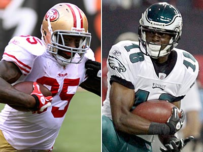 49ers´ Vernon Davis and Eagles´ Jeremy Maclin lead their teams in receiving this season. (Staff and AP Photo)