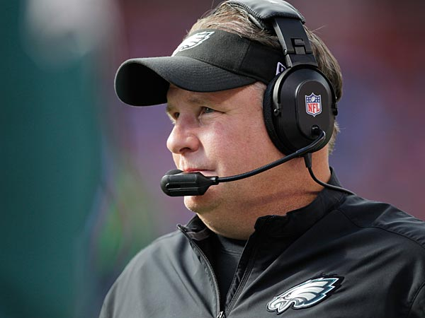 Eagles coach Chip Kelly watches his team get blown out by the Broncos. (Joe Mahoney/AP)