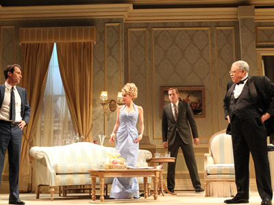 "In this undated theater publicity image released by Jeffrey Richards Associates, from left, Eric McCormack, Kerry Butler, Corey Brill and James Earl Jones are shown in a scene from Gore Vidal´s ""The Best Man,"" in New York. (AP Photo/Jeffrey Richards Associates, Joan Marcus)"