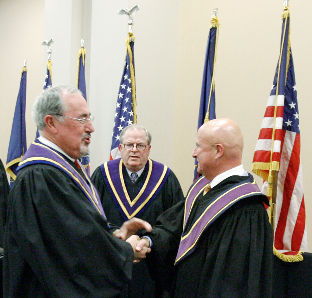 (From left) Pa. Supreme Court Justice J. Michael Eakin, Chief Justice Ron Castille and Justice Seamus P. McCaffery  at McCaffery´s swearing-in in 2008.