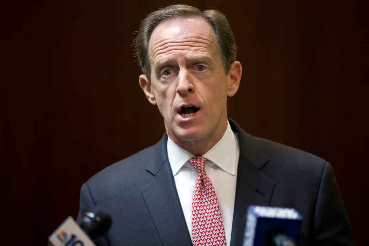 U.S. Sen. Pat Toomey, R-Pa., speaks with members of the media during a news conference May 9, 2016, in Philadelphia.