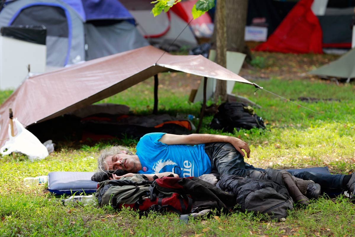 Protesters camp, sleep, meet and eat in FDR Park during the DNC on Thursday, July 28, 2016.
