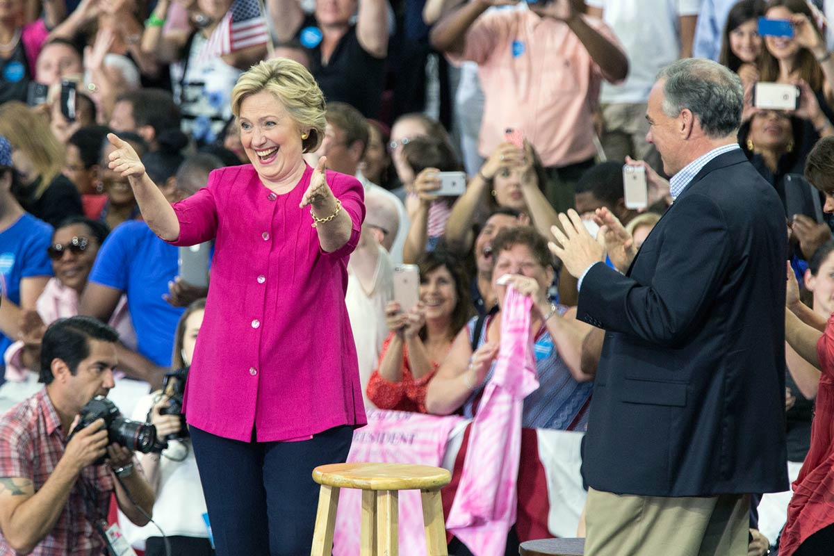 Democratic presidential nominee Hillary Clinton and her running mate, Tim Kaine, campaign at Temple University in North Philadelphia on Friday, July 29, 2016.