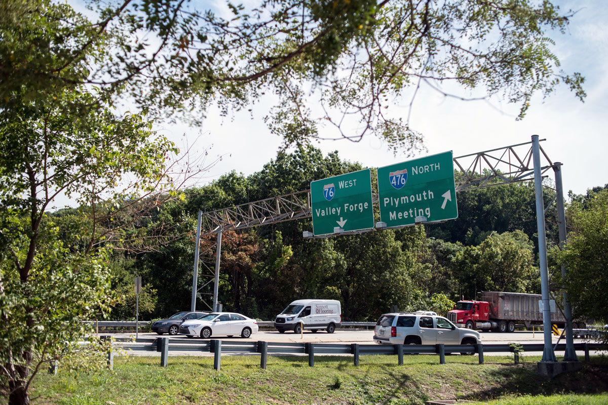 Highway traffic stacks up on the entrance and exit ramps to I-76 and I-476 on Tuesday afternoon in Conshohocken.