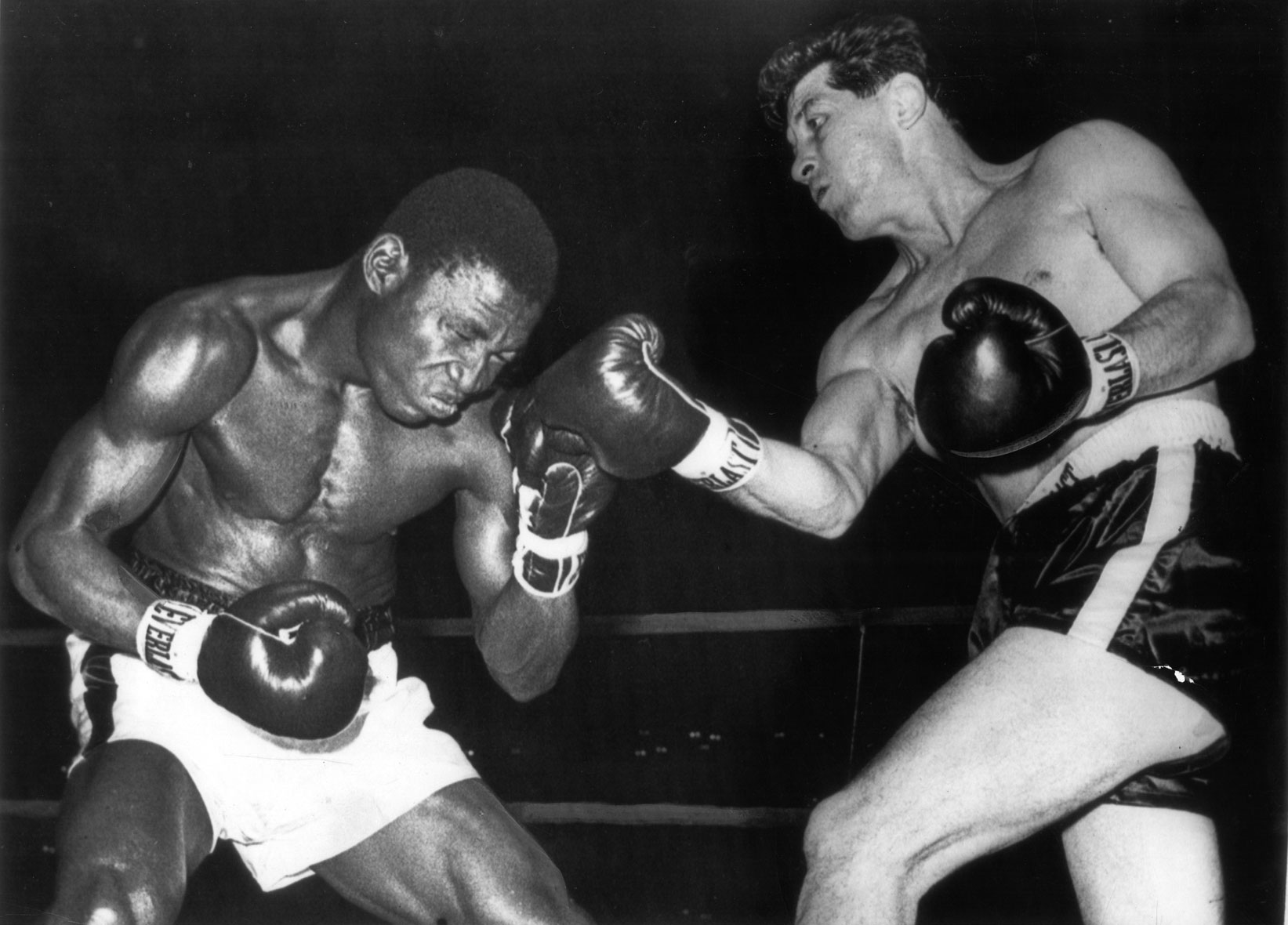 Philly middleweight Joey Giardello (right) delivers a right hook to Dick Tiger during a title fight in Atlantic City on December 7, 1963.Giardello went on to win the middleweight title that night. UPI photo
