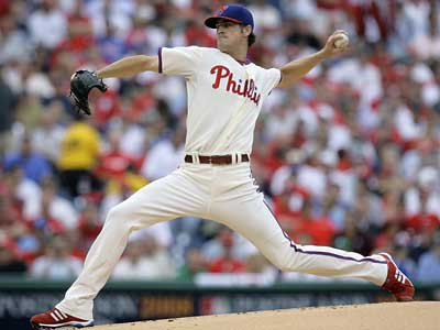 Cole Hamels has been dominant against the Brewers in Game 1 of the NLDS, allowing only one run in his first four innings. (Julie Jacobson/AP Photo)