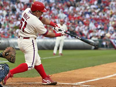 Carlos Ruiz singles to start a 3-run third inning for the Phillies during Game 1 of the NLDS. (Jerry Lodriguss / Staff Photographer)