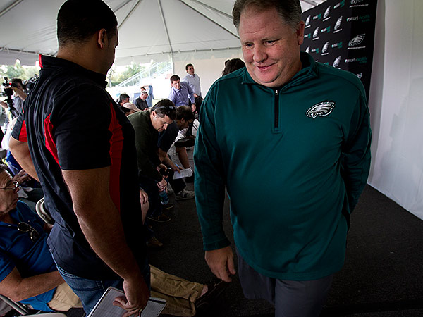 Eagles coach Chip Kelly departs Monday´s press conference. (Alejandro A. Alvarez/Staff Photographer)