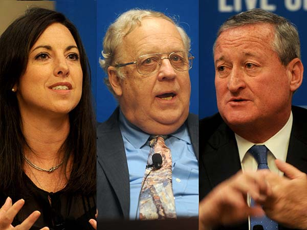 (Left to right) Republican Melissa Murray Bailey, Independent Jim Foster and Democrat  Jim Kenney at a debate on Tuesday, Sept. 29, 2015.. ( TOM GRALISH / Staff Photographer )