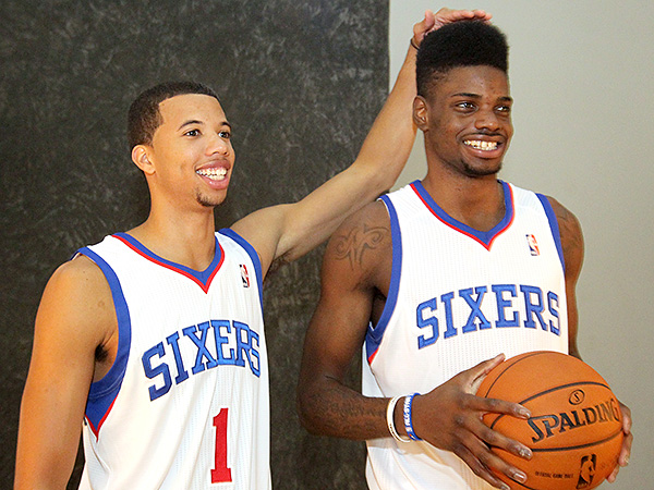 76ers rookies Michael Carter-Williams (left) and Nerlens Noel. (Charles Fox/Staff Photographer)