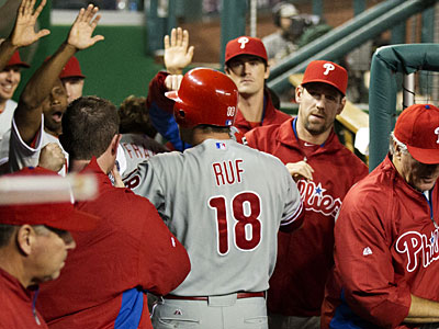 Darin Ruf hit two home runs against the Nationals during the Phillies´ 4-2 loss on Tuesday. (Manuel Balce Ceneta/AP)