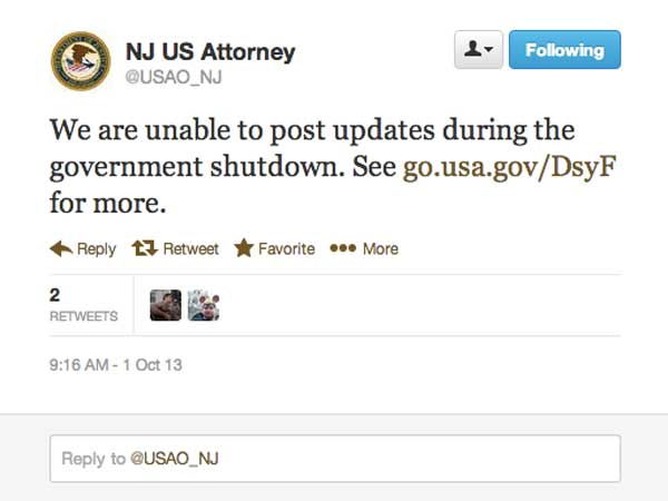 The office of the U.S. Attorney for New Jersey´s Twitter account is one of several local Twitter handles run by federal agencies that have gone dark during the shutdown.