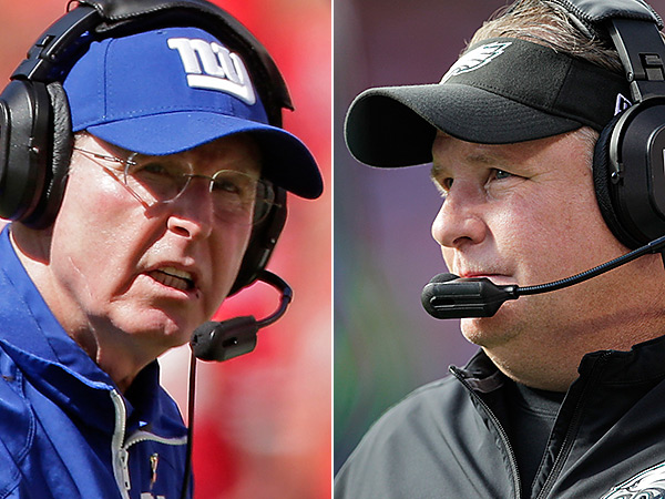 Giants coach Tom Coughlin and Eagles coach Chip Kelly. (AP Photos)